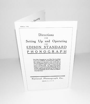 Edison Standard Phonograph Instruction Manual with Spare Parts List