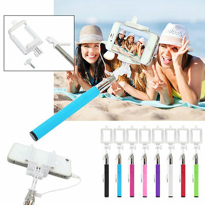 Extendable Handheld Wired Remote Shutter Selfie Stick Monopod For iPhone Samsung
