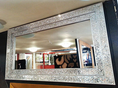 Large Crackle Silver Glass Mosaic Wall Mirror Double Frame Handmade 128X68cm New