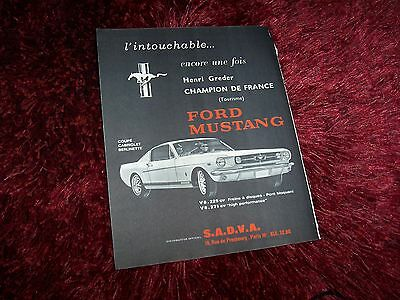 Publicité Magazine / Original French AD FORD Mustang 1966 //
