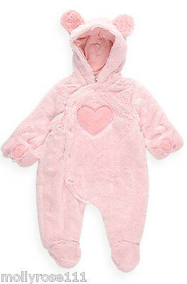 Baby Girl Baby Pink Pumpkin Patch Fluffy PramSuit Heart Hooded Romper