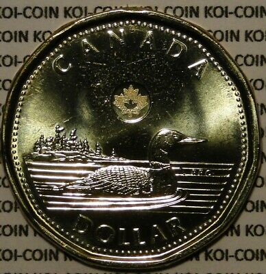 BU UNC Canada 2014 loonie $1 dollar coin from mint roll