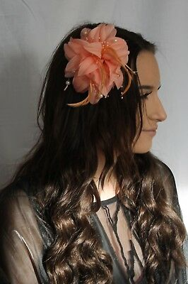 Coral Peach Hessian Flower Feather Bead Fascinator Hair clip Brooch Pin 11x17cm