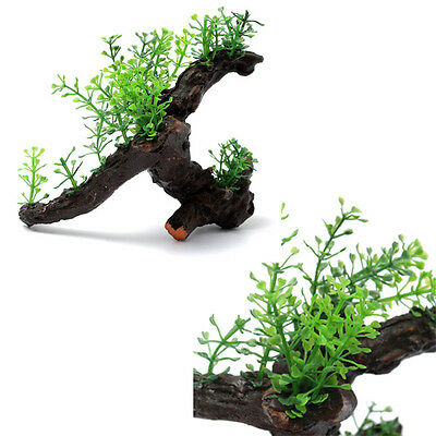 Aquarium Fish Tank Artificial Plant Aquatic Grass Wood