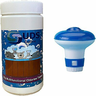 Chlorine Tablets 50 x 20g with Floating Dispenser for Pools Spa Hot Tub