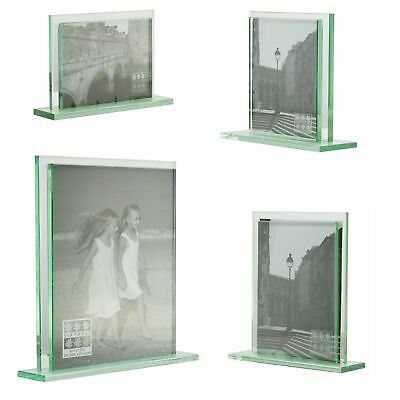 Art Deco Style Double Sided heavy glass photo frames  6x4- 10x8 inch Pictures