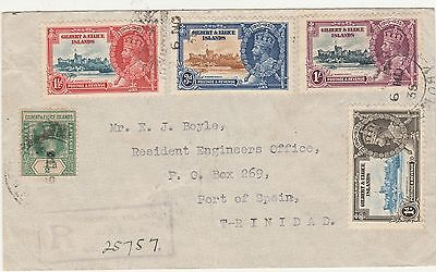 Gilbert & Ellice 1935 Kgv Silver Jubilee Set Registered Cover  Usa To Trinidad