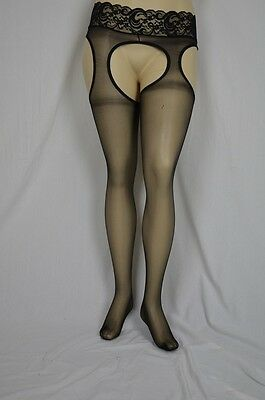 Plus size wet look sheer stockings with lace garter