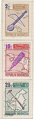 (ID-14) 1967 Indonesia 3stamps musical instruments