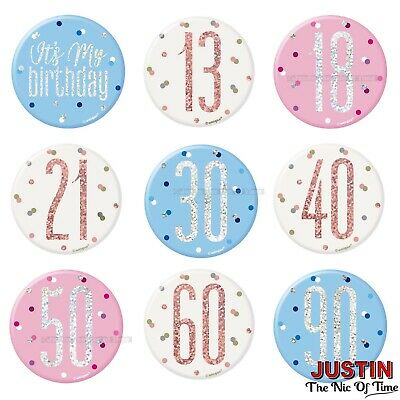 """BIG BADGE All Milestone Ages Happy Birthday Party GIANT 6"""" Male Female Boy Girl"""