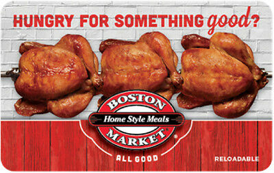 $25 Boston Market Physical Gift Card - FREE Standard 1st Class Mail Delivery