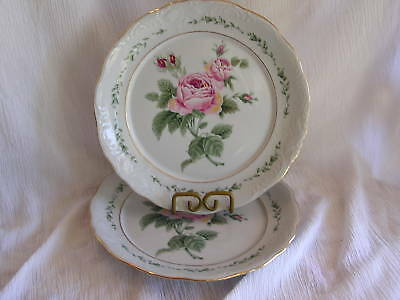 Gibson Victorian Rose Pink Flower Vine 2 Soup Cereal Bowl Set Shabby Chic Pair