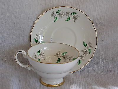 Vintage Crown Staffordshire England Cup & Saucer Green Grapes Silver Leaves