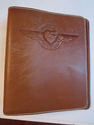 "Vintage Southwest Airlines Leather 7 Ring Binder - 9"" X 8"" - Nice - Tub Pa"