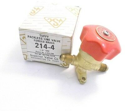 """Superior #214-4 Tuffy Packless Line Valve - 1/4"""" Sae - Refrigeration - Ppd"""