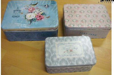 Set Of 3 Vintage Rose Metal Shabby Cake Biscuits Sewing Tins Canisters