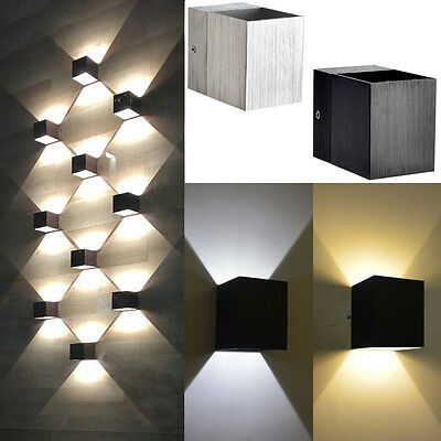 Modern 3W Day/WarmWhite LED Square Up Down Wall Lamp Spot Light Sconce Lighting