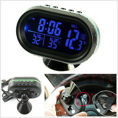 4In1 Blue LED Backlight Digital Display Thermometer Clock Car voltage