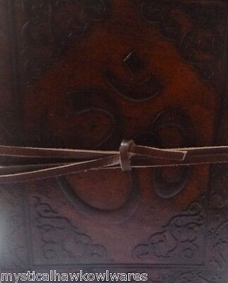 2 x OM Leather Bound Journal/Book of Shadows/Diary 240 pages 15cm(L) x 12cm(W)