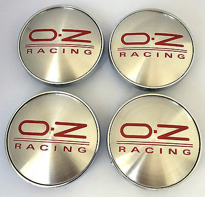 4 x OZ Racing 60mm Alloy Wheel Hub Centre Caps Cap , Brand New , Silver Red
