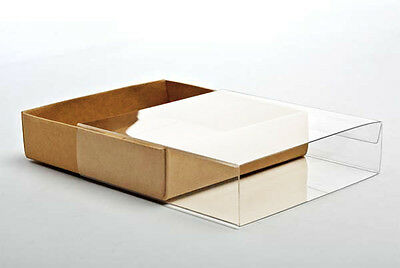 "5 Flat Kraft Paper Box Bases + Clear Sleeves; 5 3/8""x 1"" x 7 1/2"" for Photos ETC"