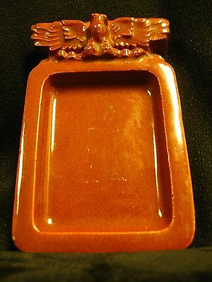 Denver Terra Cotta Company terra cotta card holder color: ocher. very scarce. VG