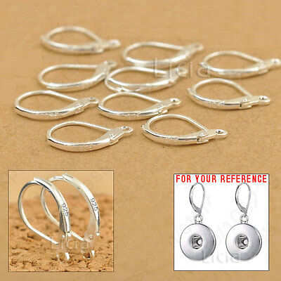 10X 925 Sterling Silver Earring Ear Hooks Lever Back Open Ring Findings Stamped