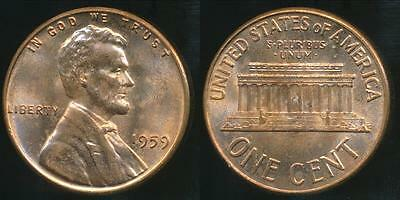 United States, 1959 One Cent, Lincoln Memorial - Uncirculated