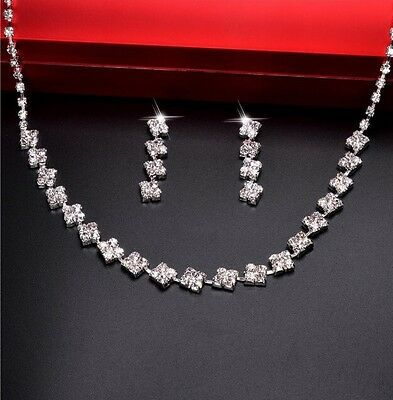 Necklace Earrings Jewellery Set Crystal Choker Bridal Bridesmaid Prom Party WT