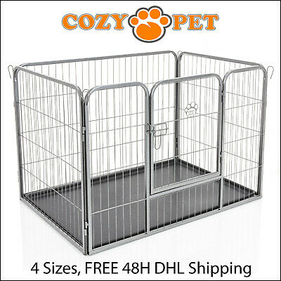 Heavy Duty Cozy Pet Puppy Playpen Run Crate Enclosure Welping Dog Cage inc Floor