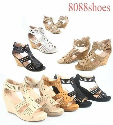 Women's OpenToe Wedge Heel Plaform Ankle Strap Sandals Shoes Size 6 - 10 NEW
