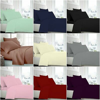 New Uk 100% Pure Cotton Bedding 23Cm Fitted 40Cm Deep, Flat, Pillowcase All Size