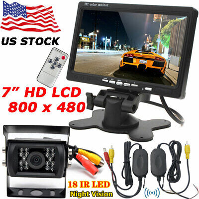 "RV Bus Truck Wireless IR Night Vision Backup Rear View Camera +7"" HD LCD Monitor"