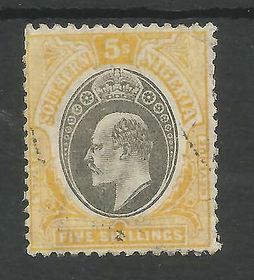 Southern Nigeria  Sg18  1903-4 Evii 5/- Grey-Black & Yellow  Fine Used Cat £225
