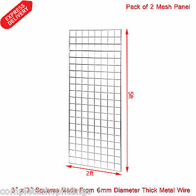 2 x 5FT GRIDWALL/ GRID WALL MESH CHROME DISPLAY PANEL (Size: 5ft x 2ft)