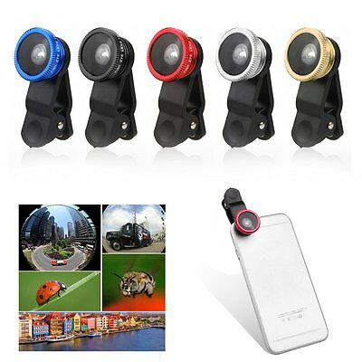 3in1 180° Fish Eye Fisheye + Wide Angle + Macro Lens Kit for iPhone Samsung HTC