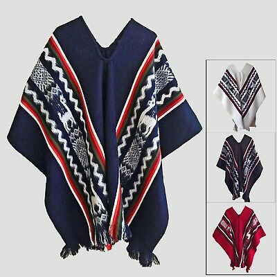 WHOLESALE LOT of 35 100% LLAMA WOOL UNISEX PONCHOS NO HOOD HANDWOVEN IN ECUADOR