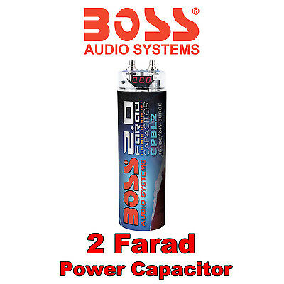 BOSS AUDIO 2.0 Farad Power Cap Capacitor Digital LED Voltage Display for amps