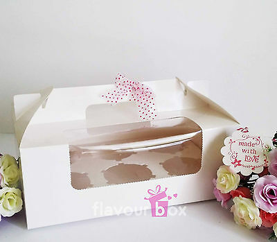 White Cupcake Boxes (holds 6 cupcakes) Plastic Window Cake Carrier Box