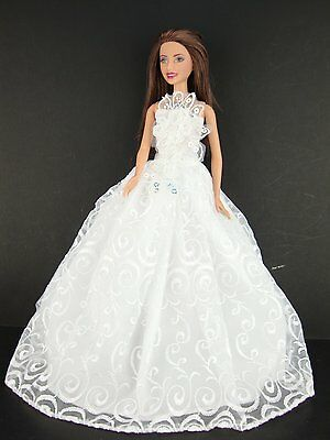 Amazing Wedding Gown with Nice Details on the Bodice Made to Fit Barbie Doll