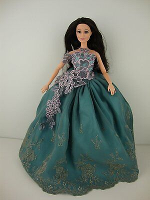 Blue Green Gown with Cute Bodice Treatment Made to Fit Barbie Doll