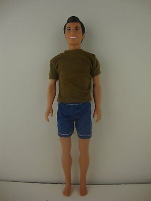 2pc Ken Doll Outfit Black T-shirt and Tan Shorts Made to Fit the Ken Doll
