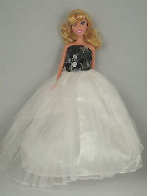 White Ball Gown with Black Seguined Bodice Made to Fit Barbie Doll