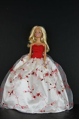 Elegant White Gown with Red Accents and Sequins Made to Fit Barbie Doll