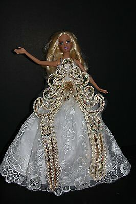 Ivory Ball Gown with Lots of Gold Sequins Made to Fit Barbie Doll