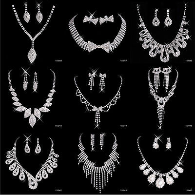 Crystal Rhinestone Wedding Bridal Necklace Earrings Formal Party Jewelry Sets
