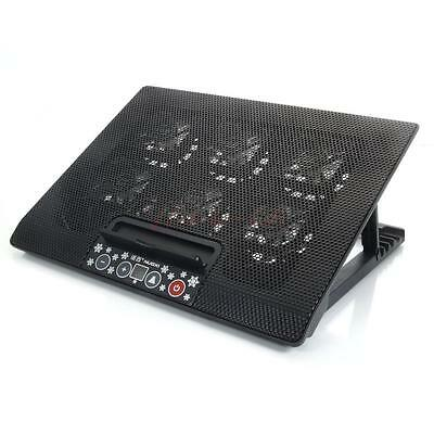 """Powerful Adjustment USB 6 Fan Cooling Cooler Pad Stand 12""""-17"""" Laptop PC Black"""