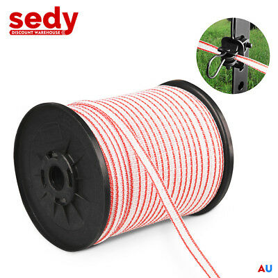 200M Polytape Roll Electric Fence Energiser Stainless Steel Poly Tape Insulator