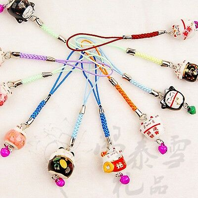 Lots 30pcs Chinese Handmade VIintage Porcelain Bell Mobile Phone Charm &Straps