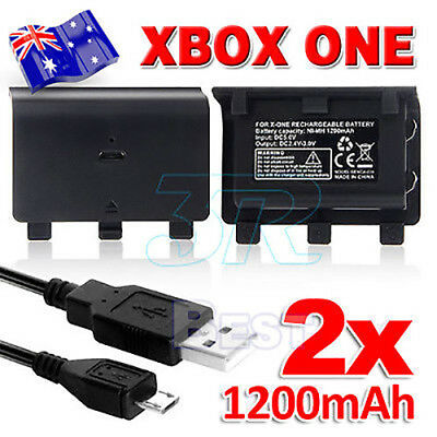 2X 1200mAh Controller Pack USB Charger Cable for XBOX ONE Battery Rechargeable